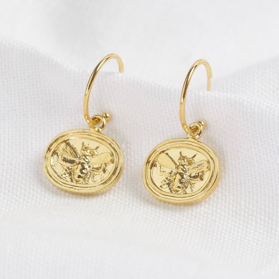 Wax Seal Bee Pendant Hoop Earrings in gold