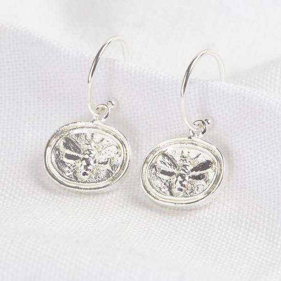 Wax Seal Bee Pendant Hoop Earrings in silver