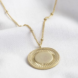 Worn Gold Sunshine Pendant Necklace with satellite