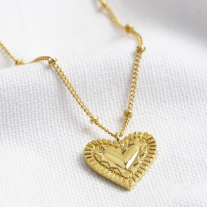 Etched Heart Pendant with satellite chain
