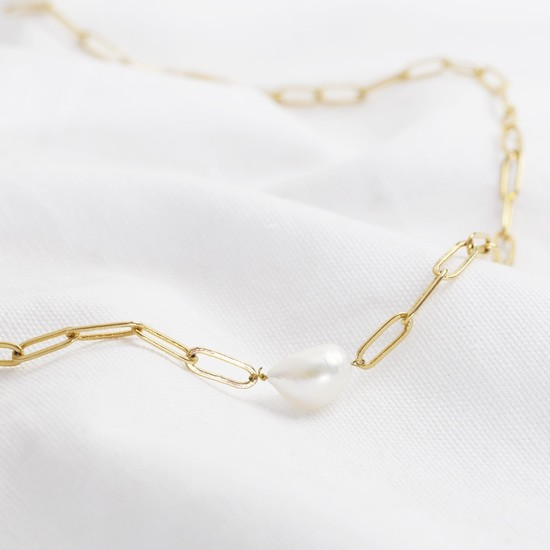 Chain necklace/bracelet with pearl