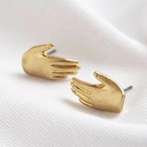 Gold Hand stud earrings