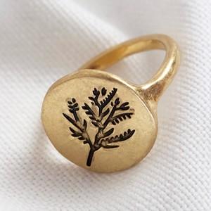 Gold Round Flower Ring