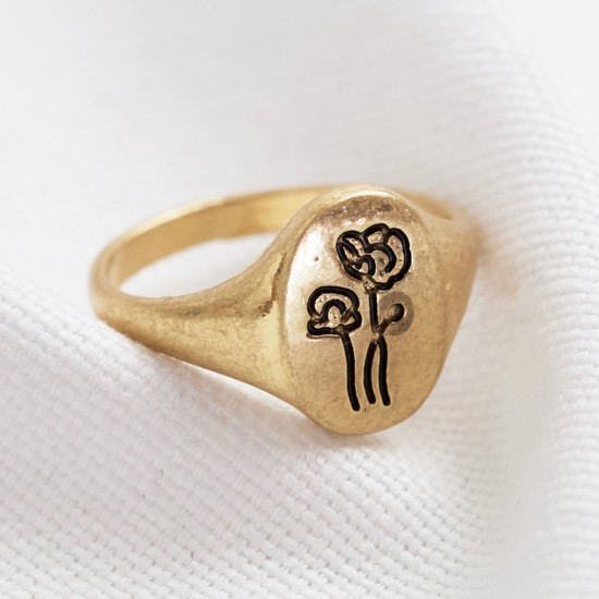 Gold Two flowers oval ring