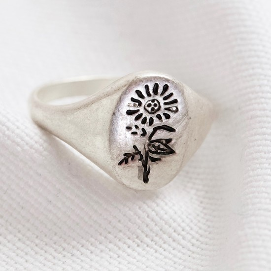 Silver Flower oval ring