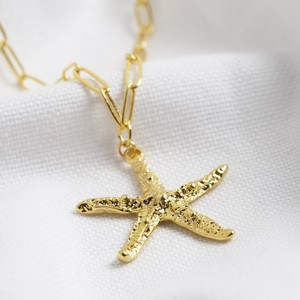 Gold Statement starfish necklace with box chain