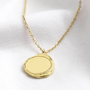 Gold Organic Disc with dots necklace