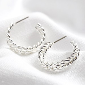 Medium Plaited Hoops in Silver