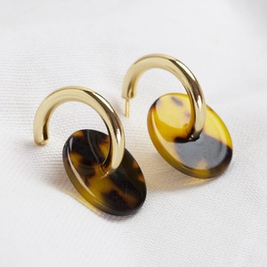 Gold Hoops with tortoiseshell discs