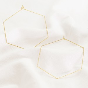 Gold Sparkly Hexagonal hoop Earrings