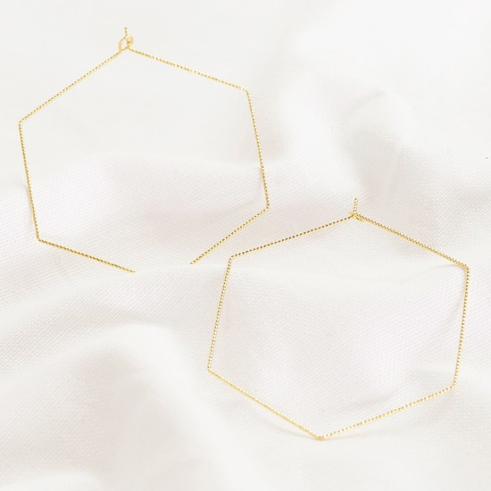 Gold Sparkly Hexagonal hoop Earrings