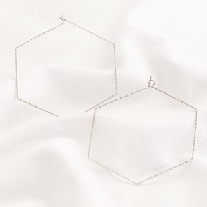 Silver Sparkly Hexagonal Hoop Earrings