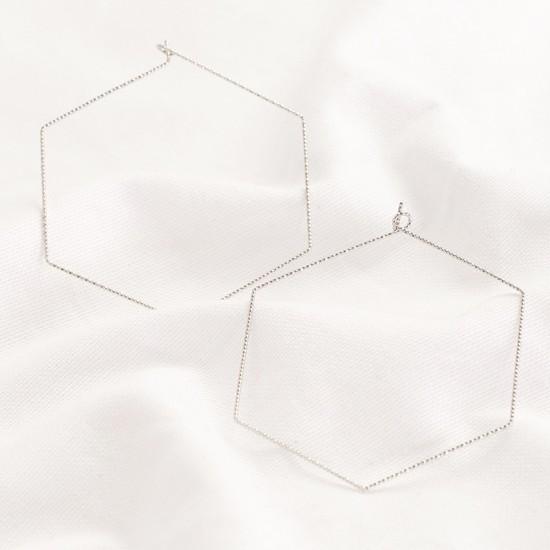 Silver Sparkly Hexagonal Hoop Earrings