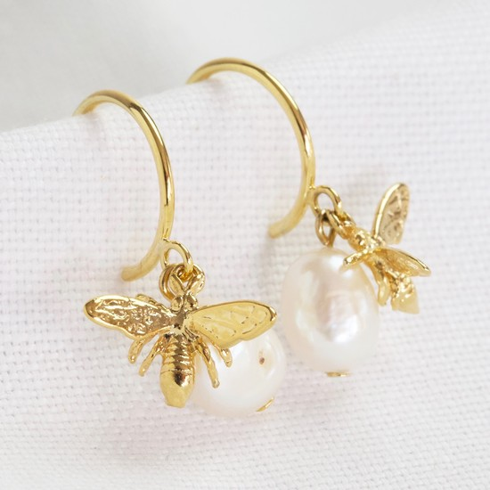 Pearl and Bee Hoop Earrings in Gold