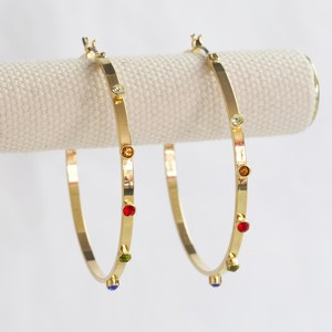 Gold hoop earrings with colourful gems