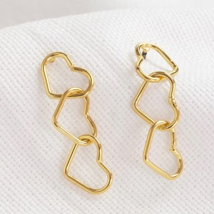 Delicate Interlocking Heart Earrings in Gold