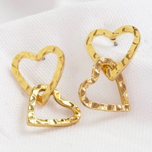 Hammered Interlocking Heart Earrings in Gold