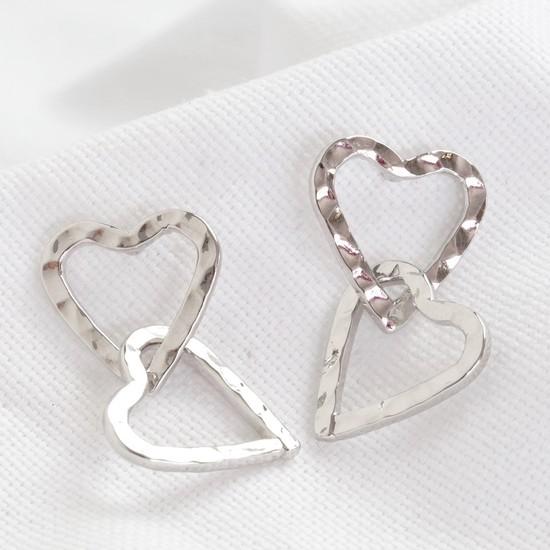 Hammered Interlocking Heart Earrings in Silver