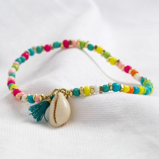 Shell bracelet with tassel in multi