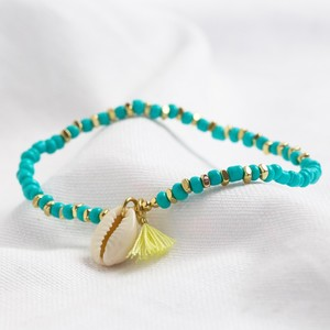 Shell bracelet with tassel in turquoise