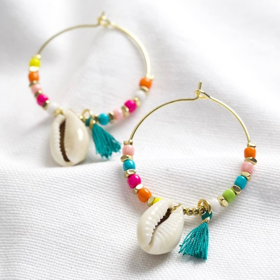 Shell and beaded hoop earrings in multi