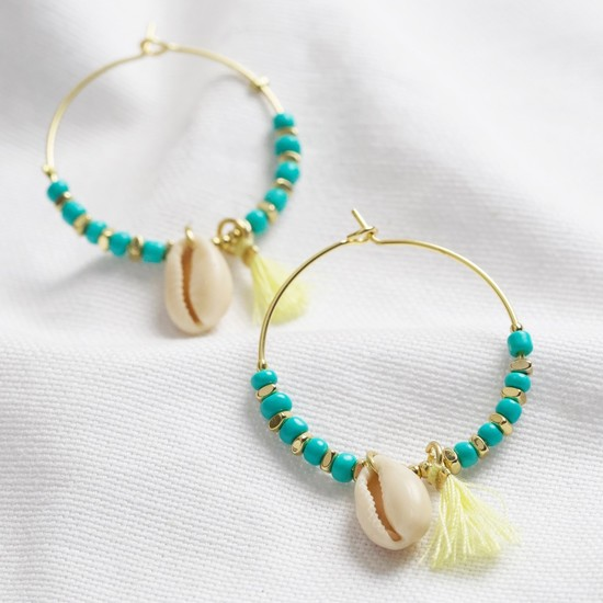 Shell and beaded hoop earrings in turquoise