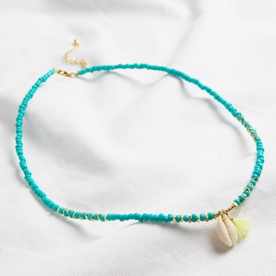 Beaded Shell Necklace with tassel in turquoise