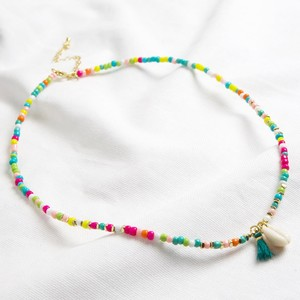 Beaded Shell Necklace with tassel in multi