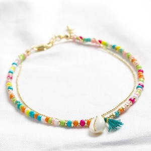 Multi Layer Anklet with shell and tassel in multi