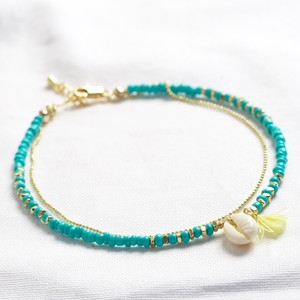 Mullti Layer Anklet with shell and tassel in turquoise