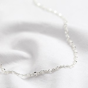 Double link necklace in silver - 40 cm + 5cm.