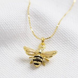 Enamel tiny bee necklace
