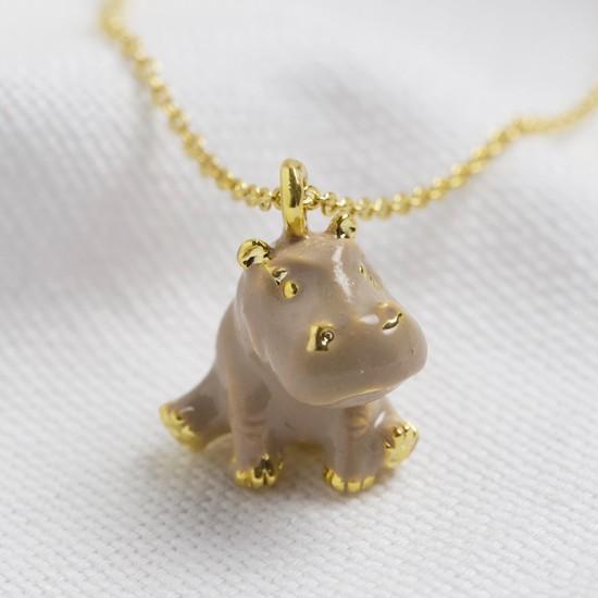 Enamel Hippo necklace