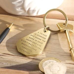 Friend antique brass keyring