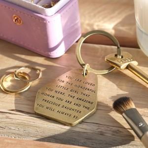 Daughter antique brass keyring