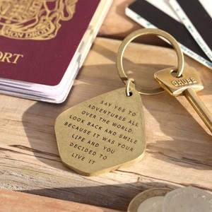 Adventure antique brass keyring