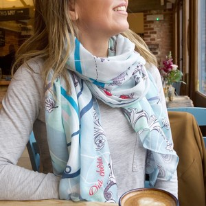 Blue Paris Scarf