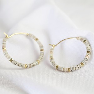 Grey Shell beaded Medium Sterling silver Hoop Earrings