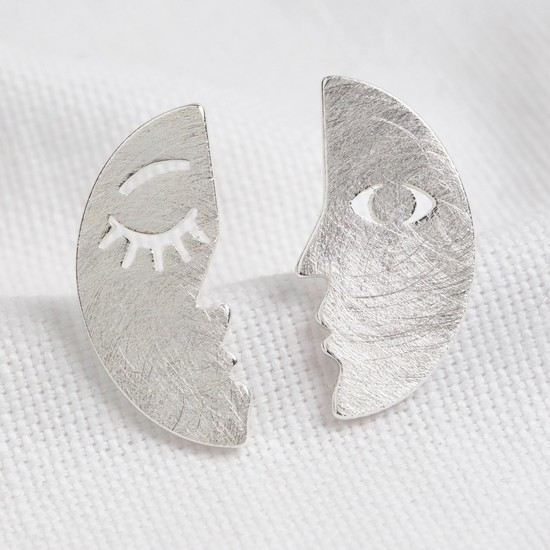 Small silver brushed 2 part face earrings