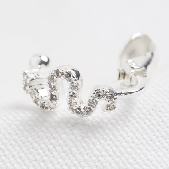Silver snake crystal ear cuff