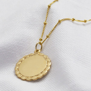 Plain laurel leaf disc- gold plated sterling silver