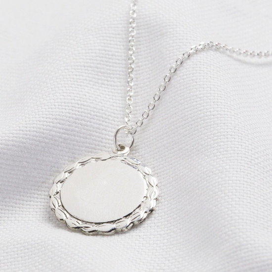 Plain laurel leaf disc -sterling silver