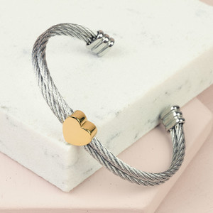 Stainless Steel Wire Open Bangle with Gold Heart