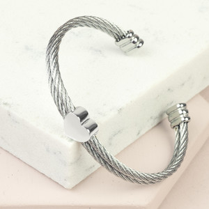 Stainless Steel Wire Open Bangle with Heart