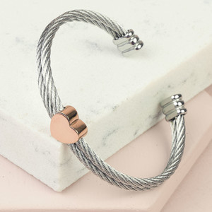 Stainless Steel Wire Open Bangle with Rose Gold Heart