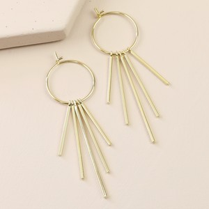 Mixed Size Bar Hoop Statement Earrings In Gold