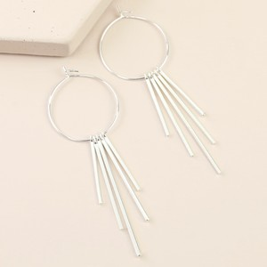 Mixed Size Bar Hoop Statement Earrings In Silver