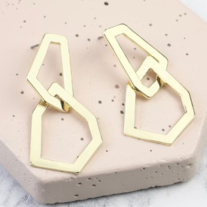 Statement Interlocking Irregular Shape Earrings in Gold