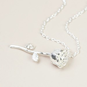 Rose Stem Necklace In Silver