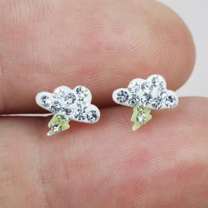 Sterling Silver diamonte Moon and lightning  Stud Earrings